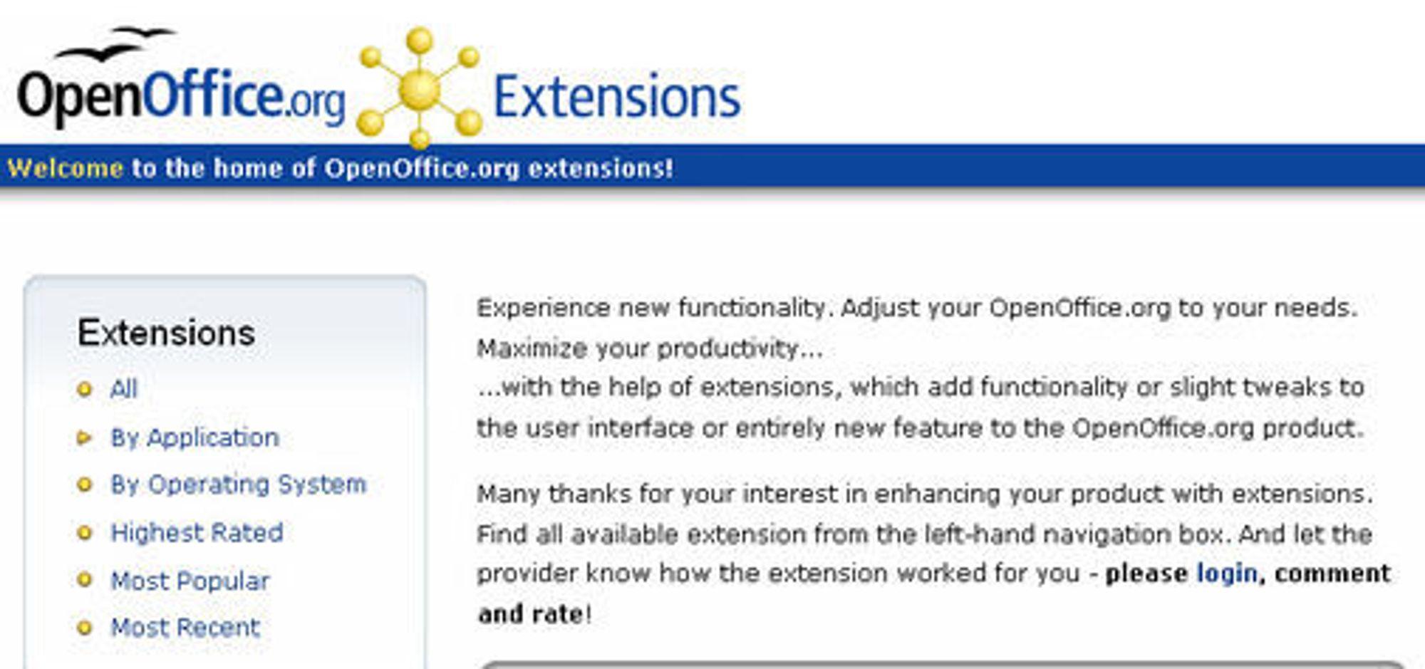 Fra Extensions-nettstedet til OpenOffice.org.