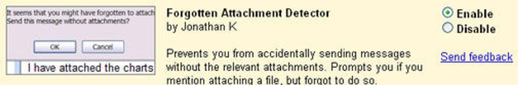 Dialogen for å aktivere Forgotten Attachment Detector i GMail.