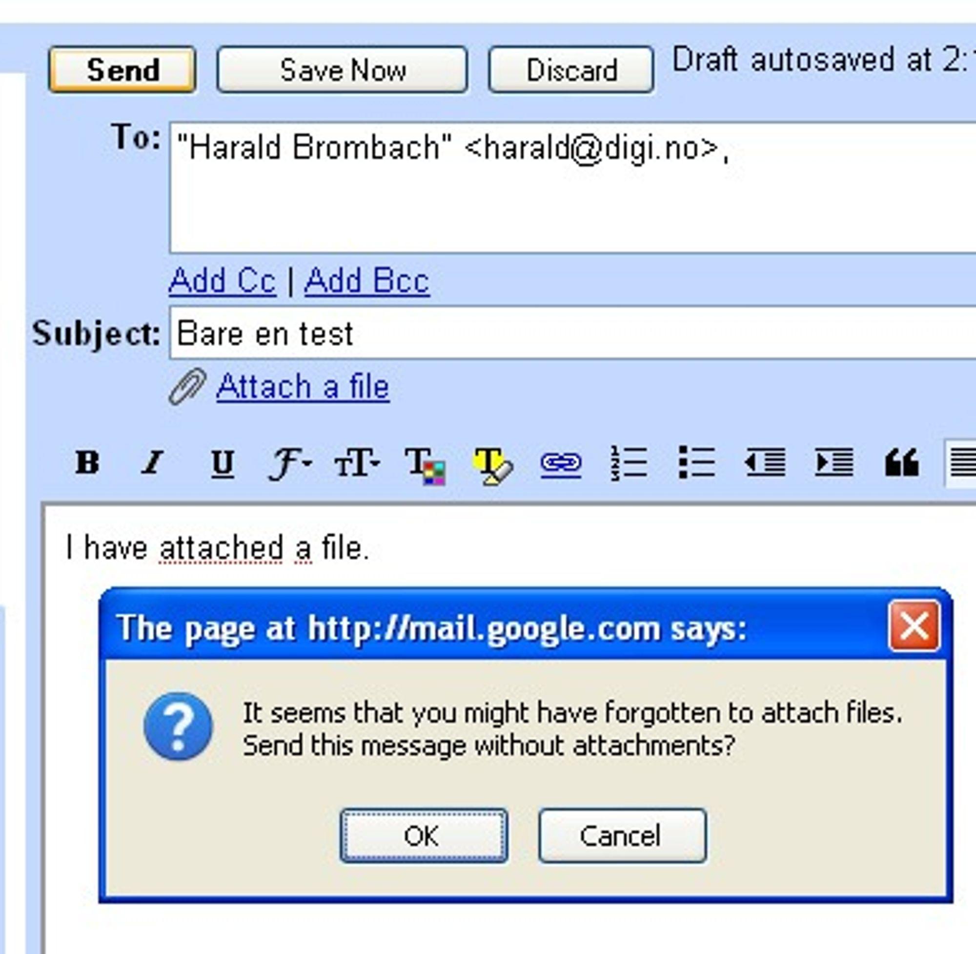 GMail kan varsle brukeren om at et vedlegg kanskje mangler i en e-post.
