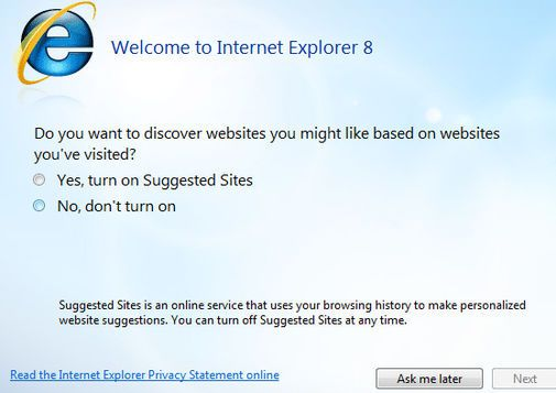 IE8 oppstartsvalg for Suggested Sites.