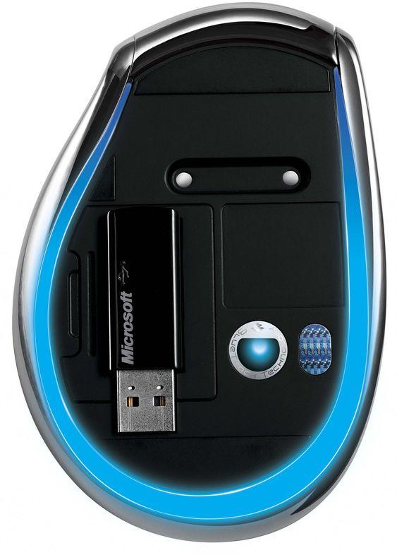 Undersiden av Microsoft Explorer Mouse.