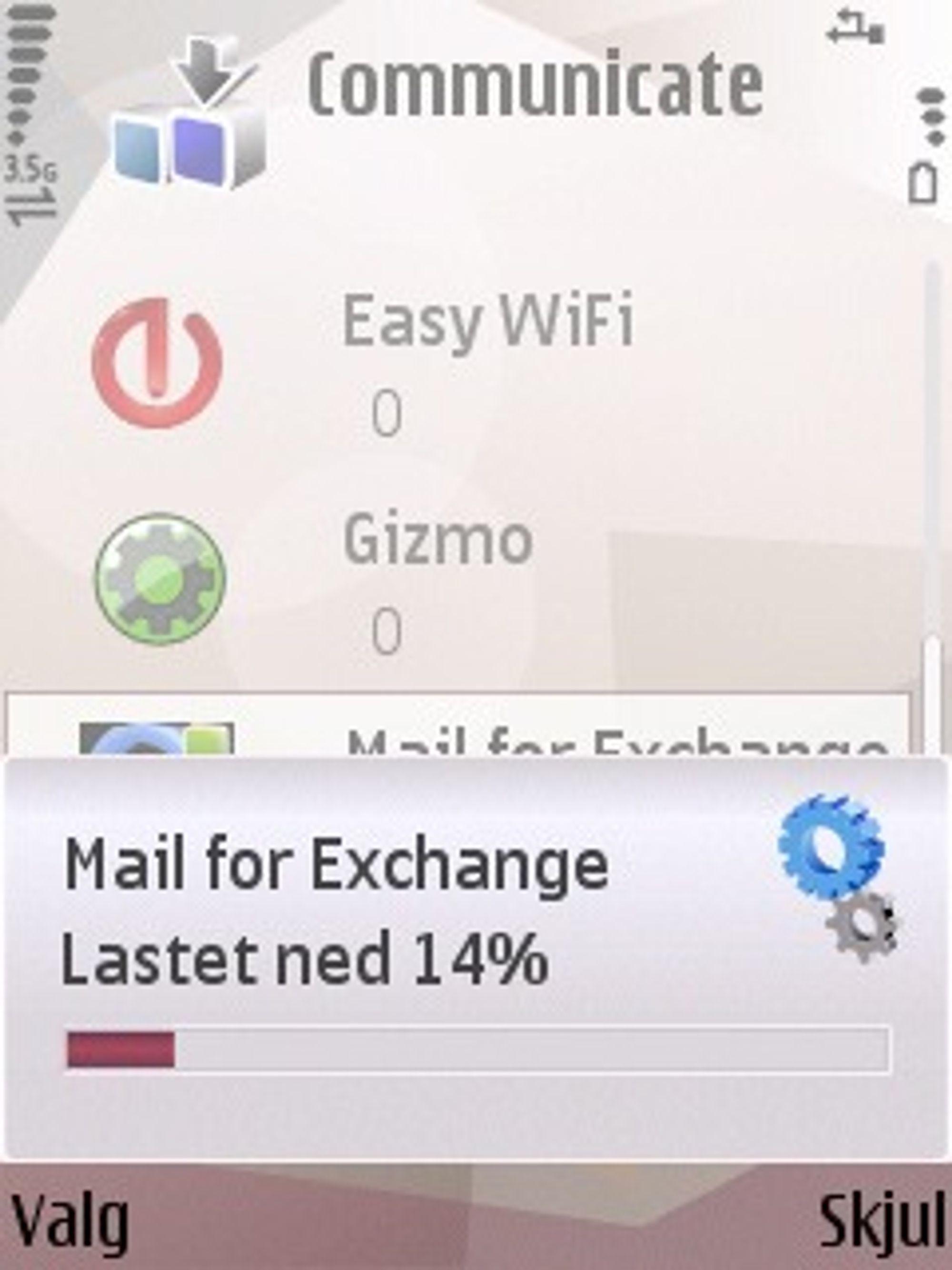 Nedlasting av Mail for Exchange fra Nokia.