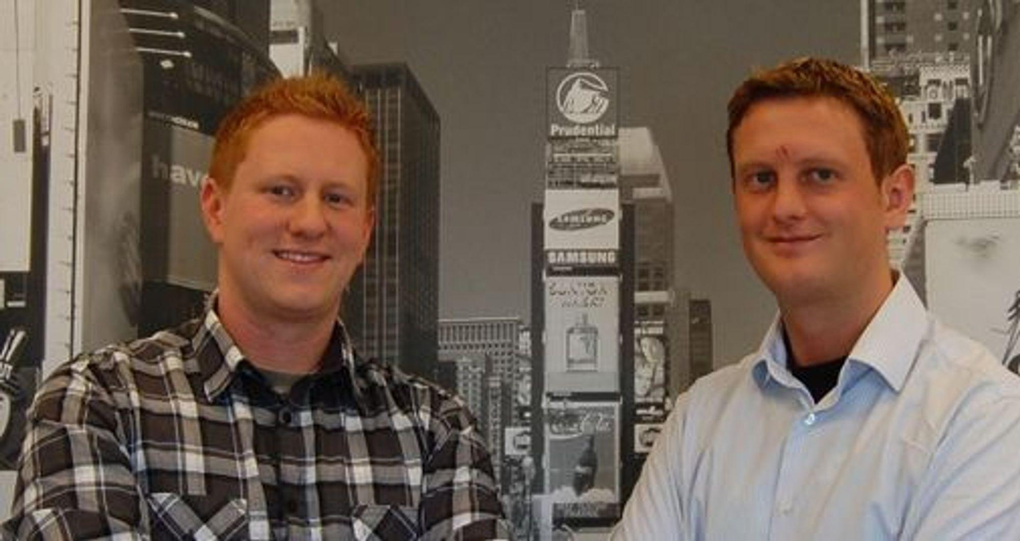 Nettgründere: Utviklerne Stian Tonaas Fauske (til v.) og Njål A. Gjermundshaug ble først kjent under felles IT-studier i Australia.