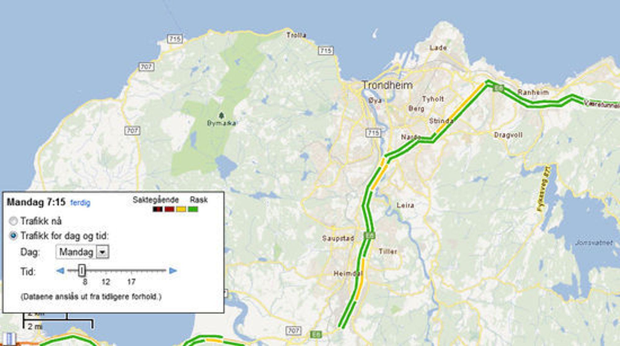 Normale trafikkforhold i Trondheim klokken 7.15 mandag morgen ifølge Google Maps. Visse strekninger er preget av litt mer saktegående trafikk enn det som er vanlig på andre tider av døgnet.