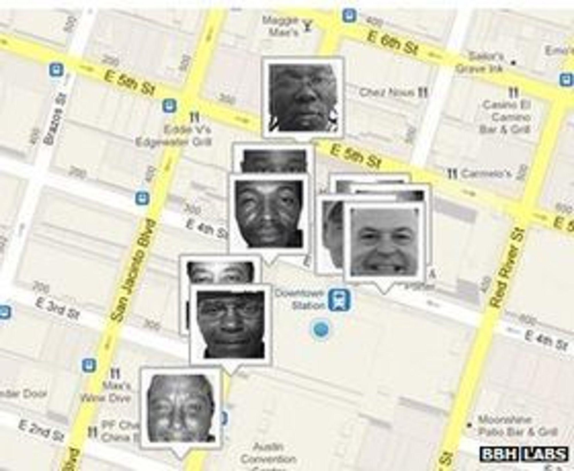 De tretten hjemløse spores i sanntid på et kart fra nettsidene til Homeless Hotspots.