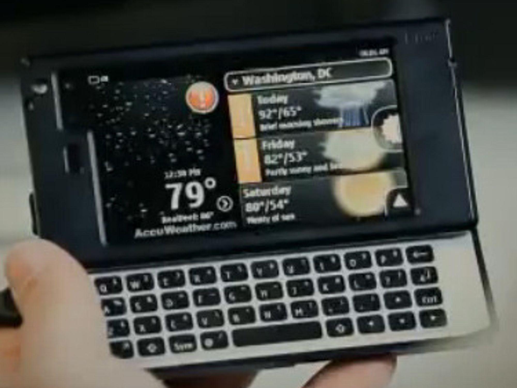 Angivelig Nokia N950 hentet fra utviklervideo utgitt av Nokia på YouTube.