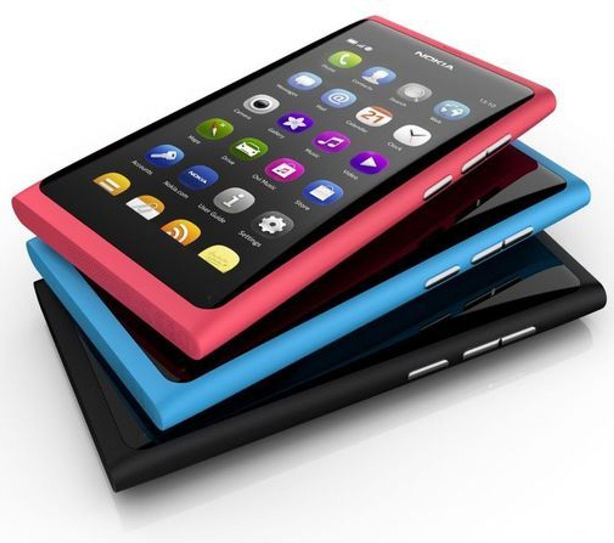 Nokia N9 kommer i tre ulike farger.