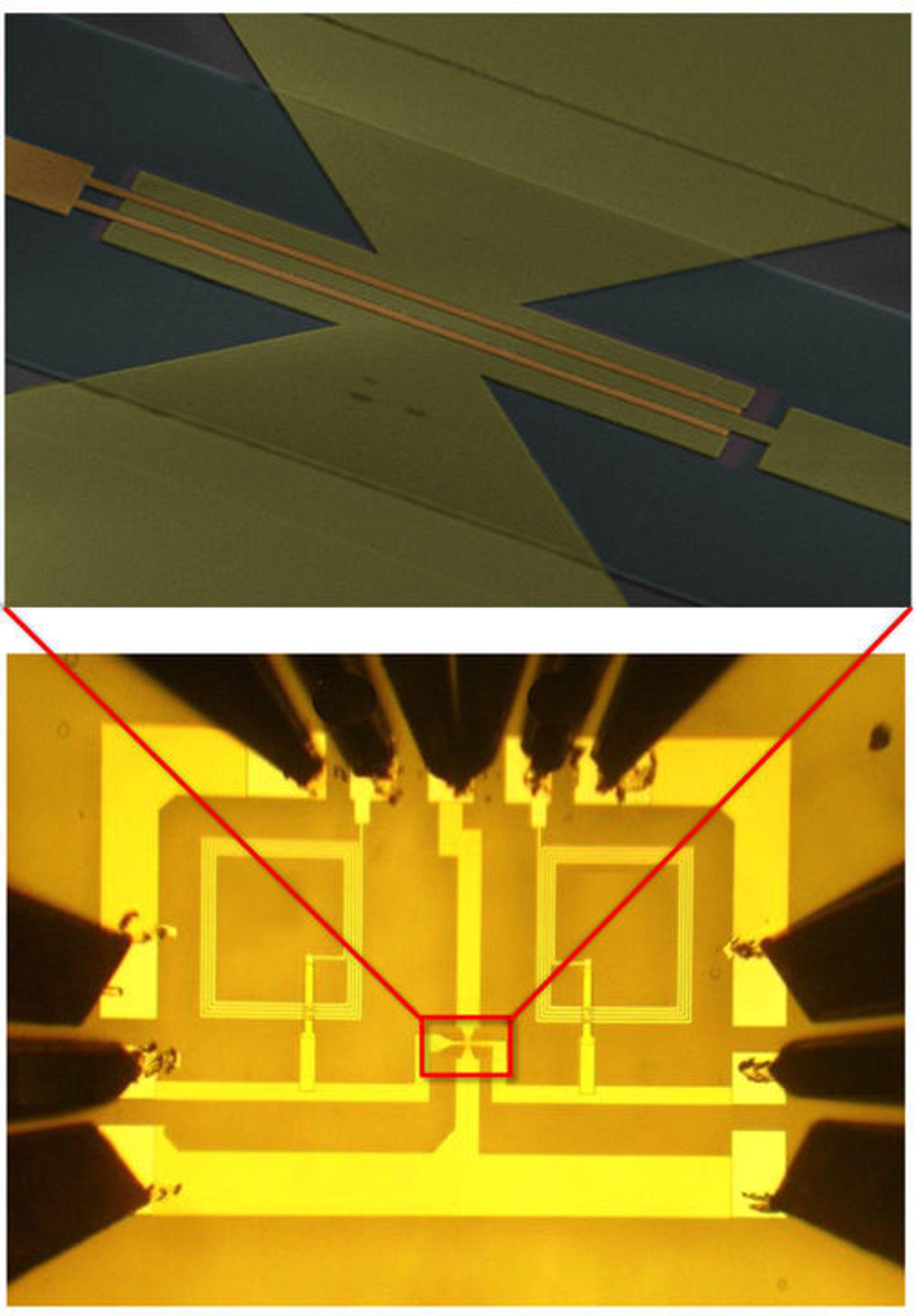 Nederst vises hele den integrerte kretsen, inkludert kontaktpunkter. Øverst vises grafen-transistoren.