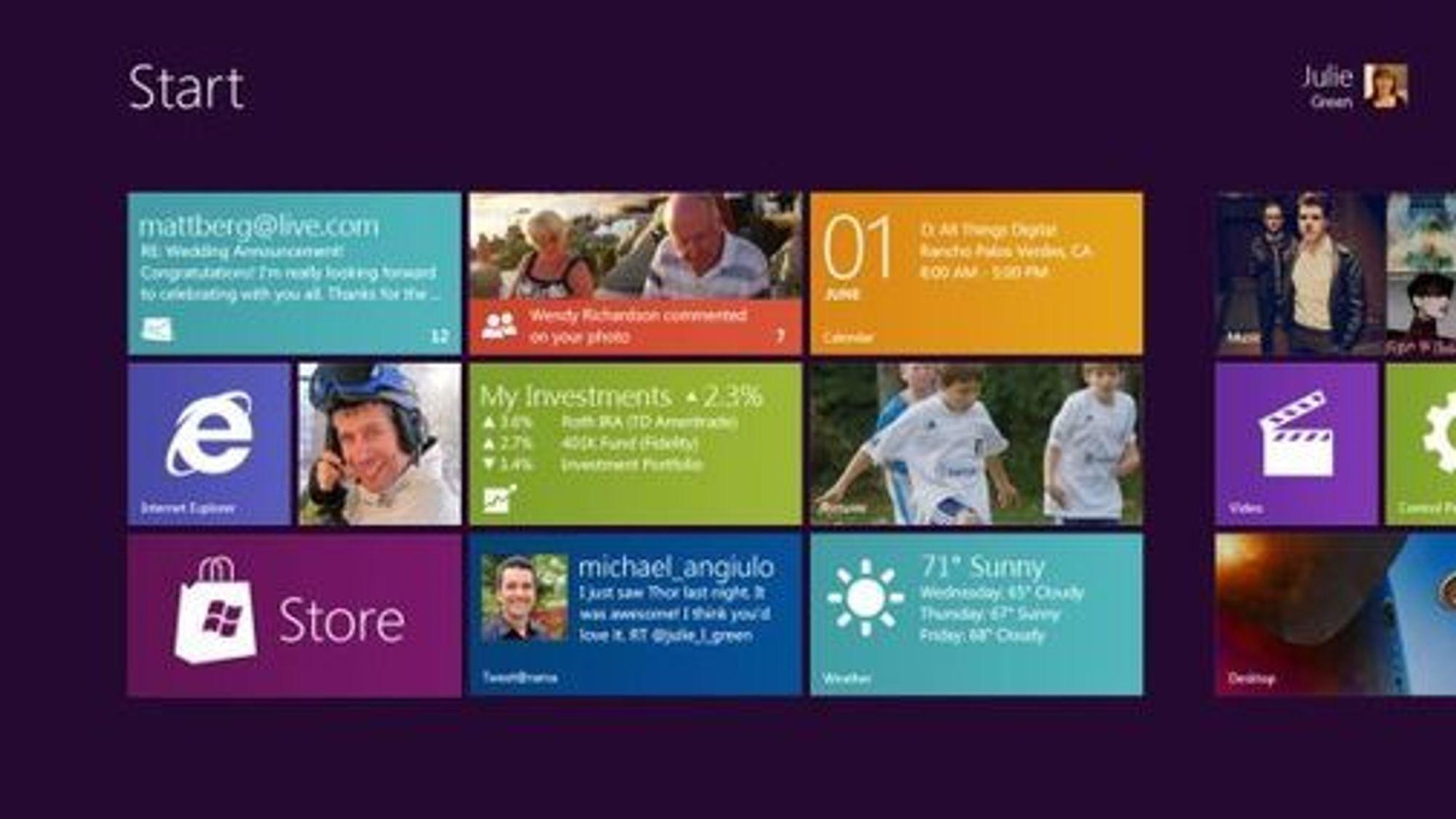 """Startmenyen i """"Windows 8"""" med de nevnte flisene, som også kjennetegner Windows Phone 7."""