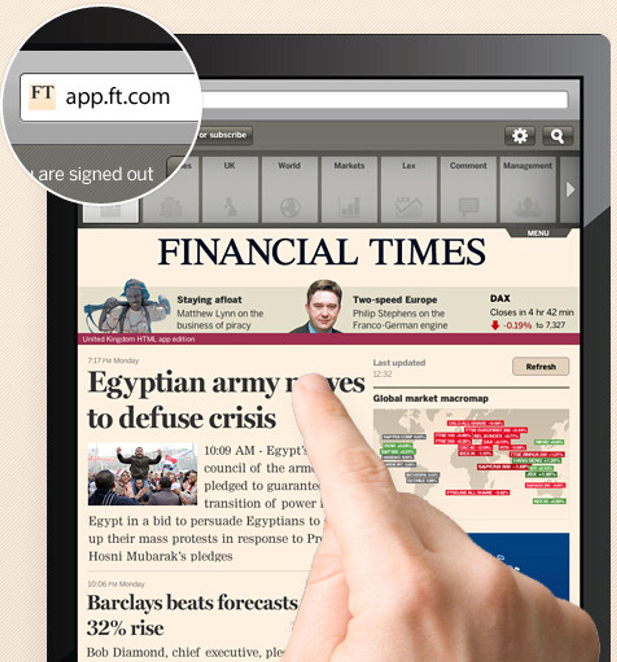 Ved å tilby mobile lesere en HTML5-applikasjon hindrer Financial Times uvedkommende som Apple og Google fra å få del i abonnementsinntekter og kundeinformasjon.