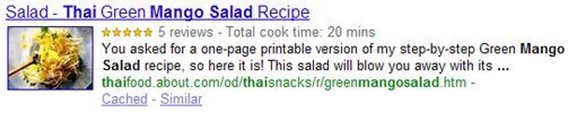 Utvidet søkeresultat når man søker etter «mango salad» i Googles søketjeneste.
