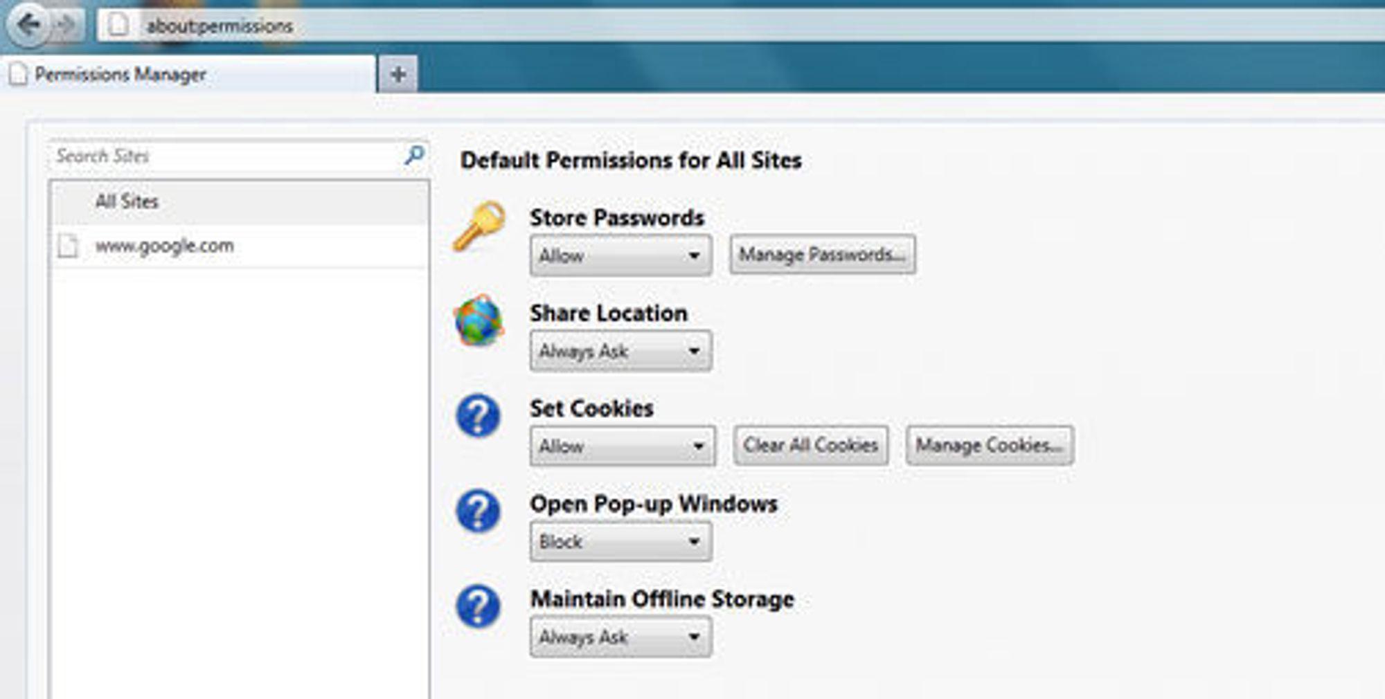 Brukerne skal få mer kontroll over data som utveksles med nettstedene ved hjelp av Data Management Window