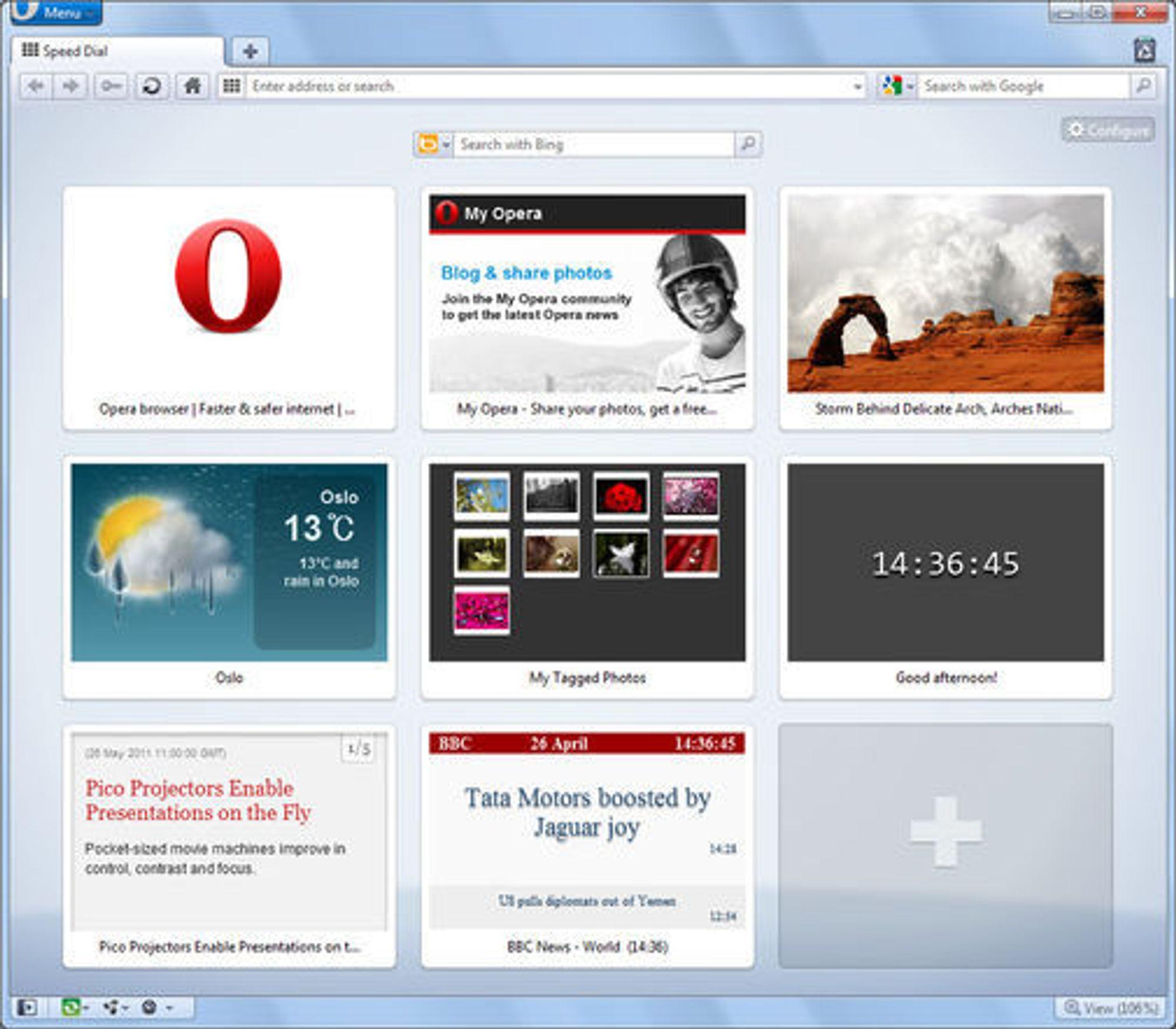 Speed Dial-utvidelser i Opera 11.50 beta.