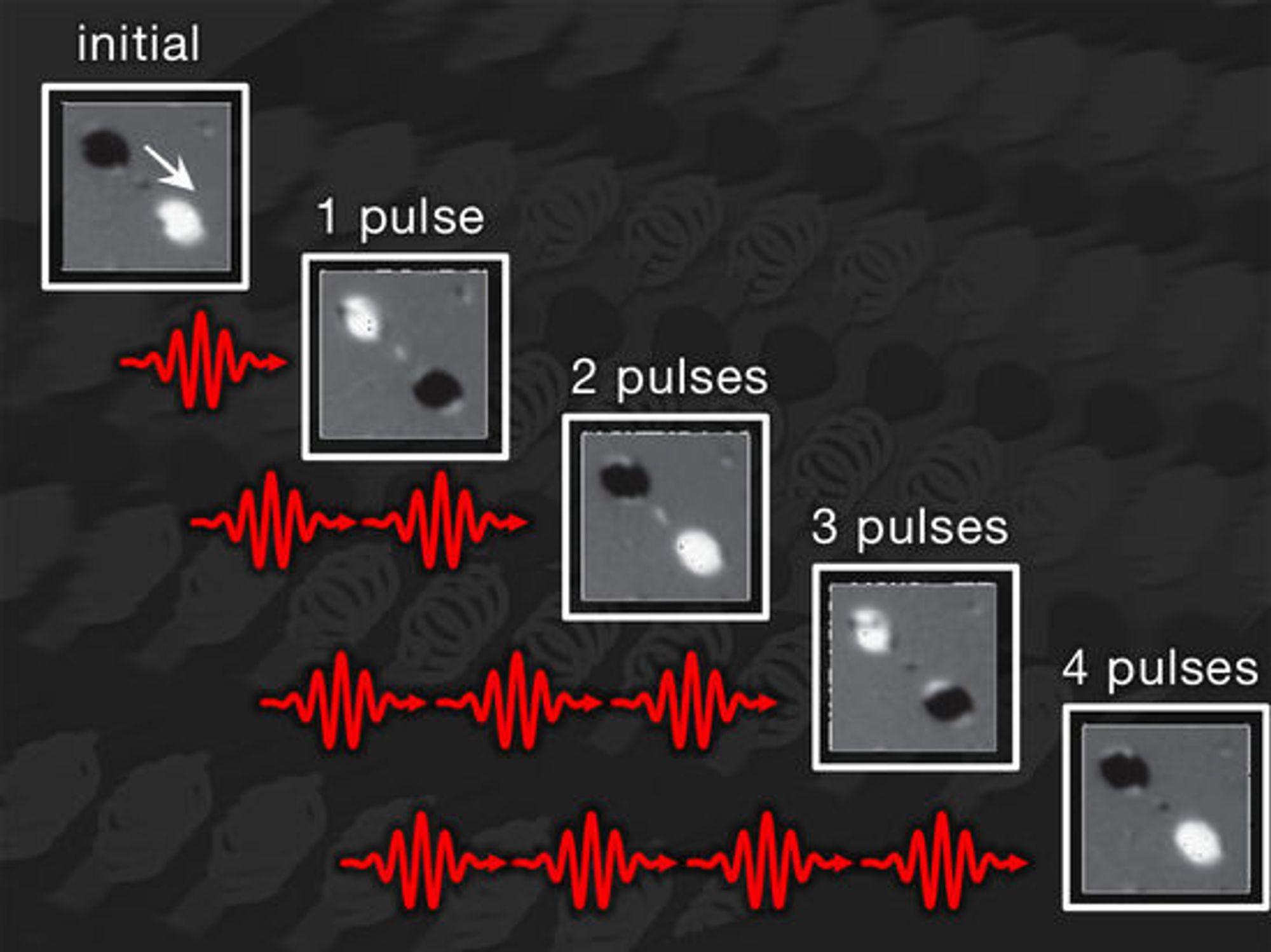 Invertering av magnetiske poler ved hjelp av korte varmepulser fra en laser.