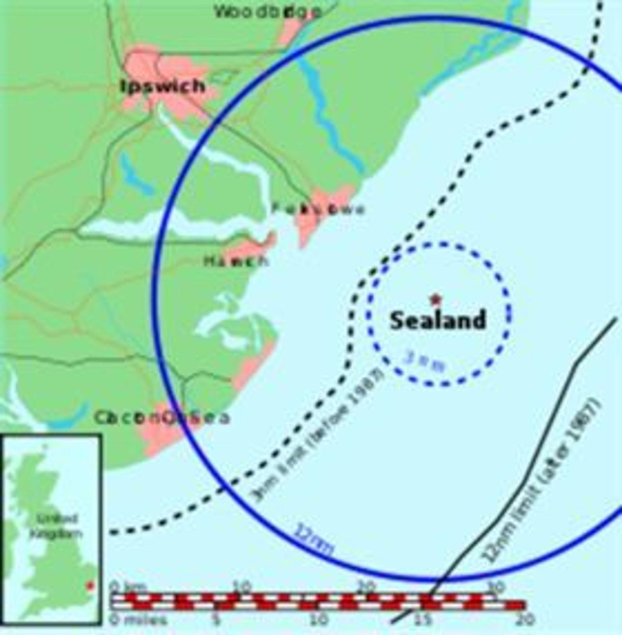 Sealand er så vidt mer enn seks sjømil fra kysten utenfor Ipswich.