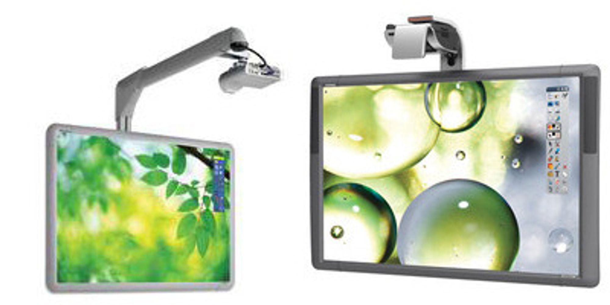 Prometheans interaktive tavler krever projektor. Bildene viser utviklingen fra ActivBoard 100 til venstre) til den nye ActivBoard 500.