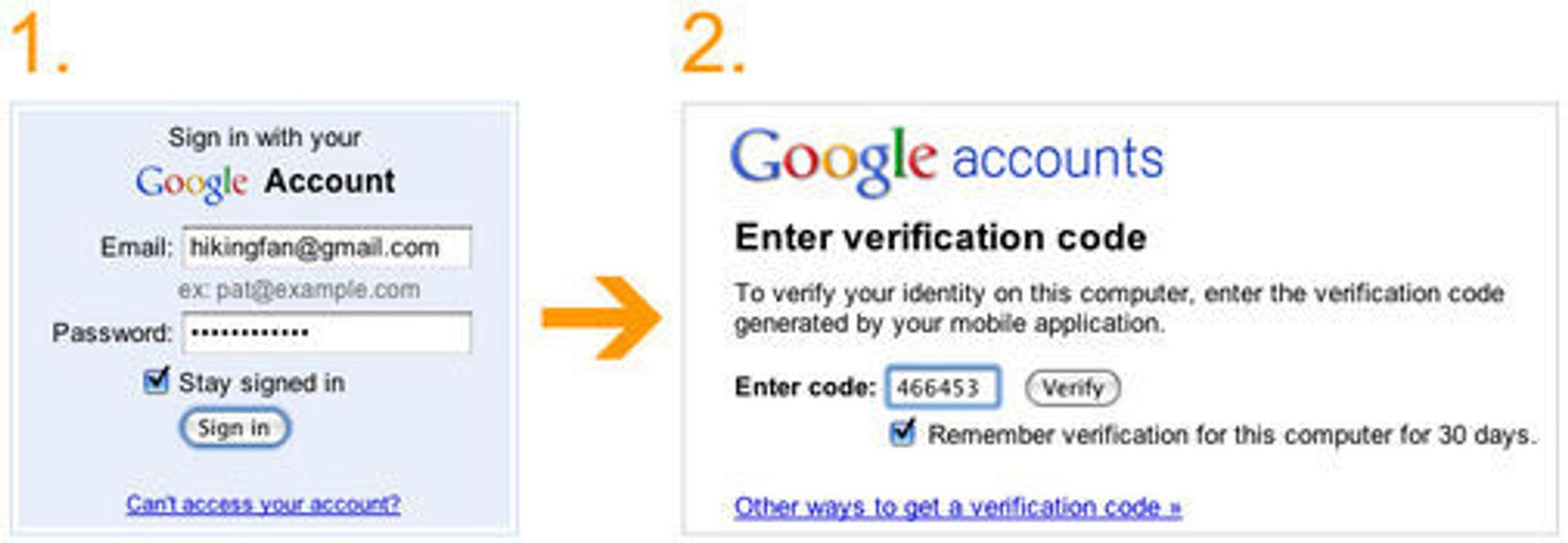 Tofaktors innlogging på Google-kontoer.