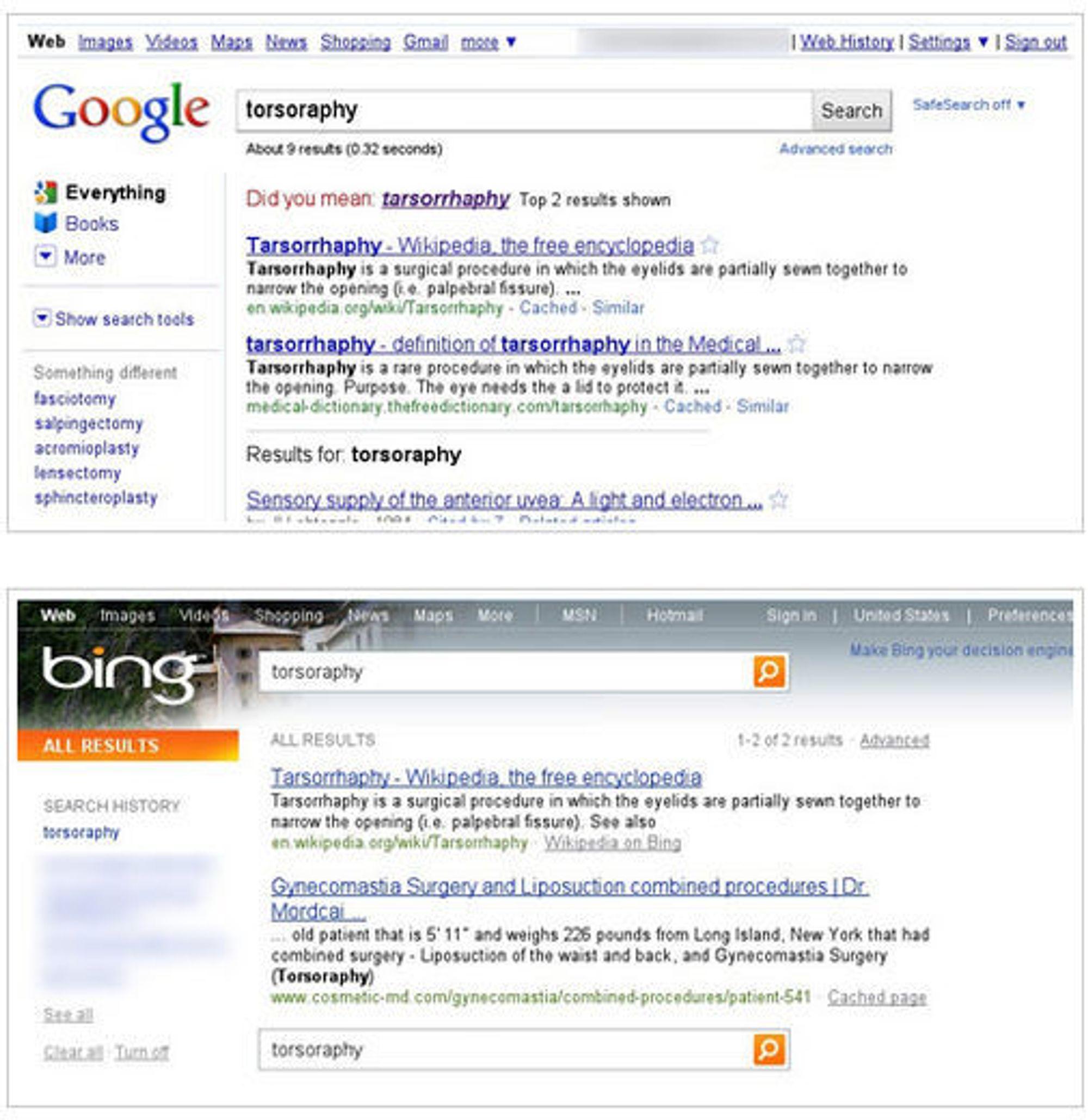 """Sammenligning av resultatene i Google Search og Bing ved søk etter """"torsoraphy"""". På grunn av omtalen av denne saken ser søkeresultatene helt annerledes ut nå."""