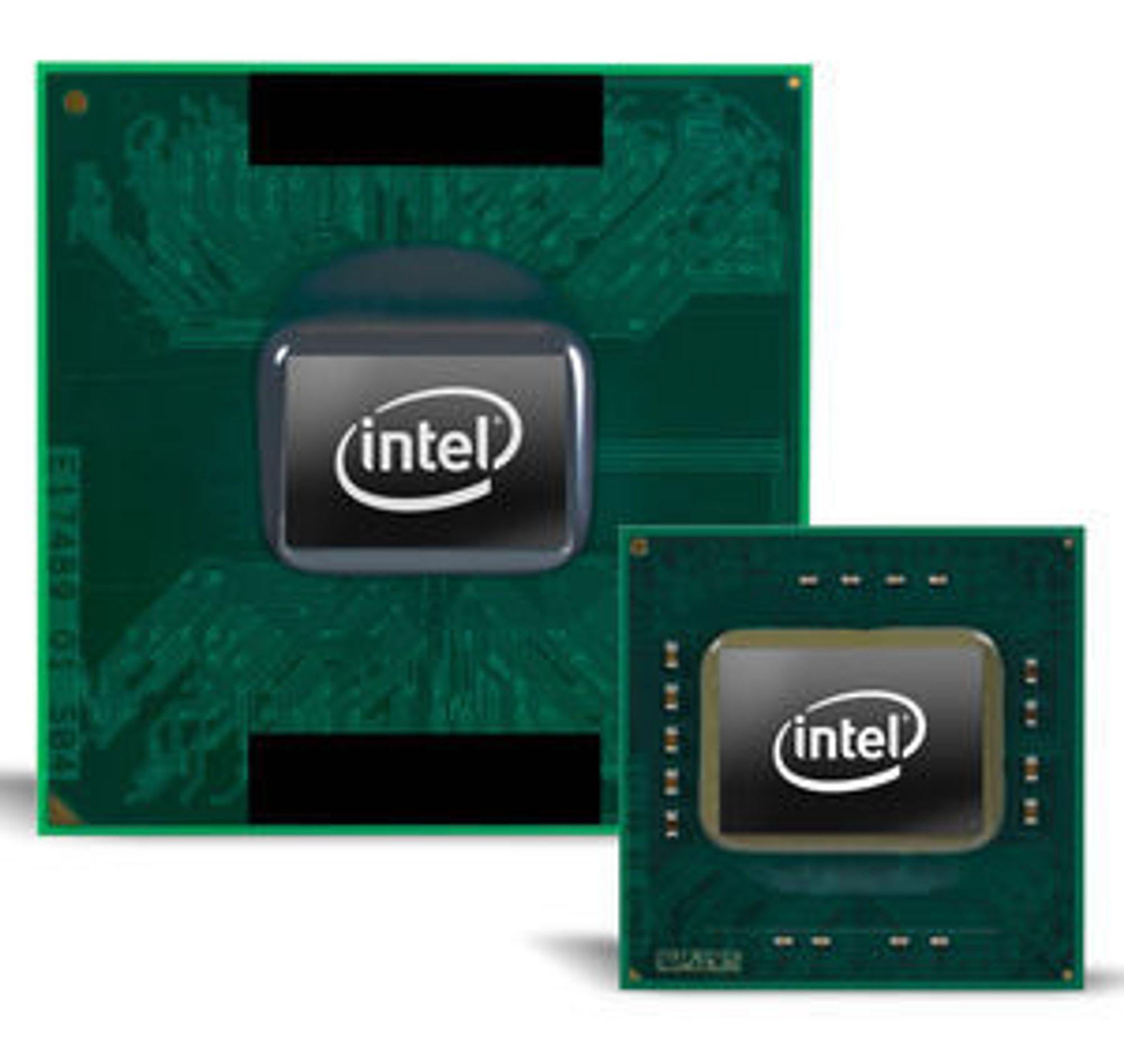Intel Core 2 Duo prosessor i S-serien (foran) for bærbare PC-er med liten formfaktor, sammenlignet med en vanlig  Intel Core 2 Duo-prosessor (bak).
