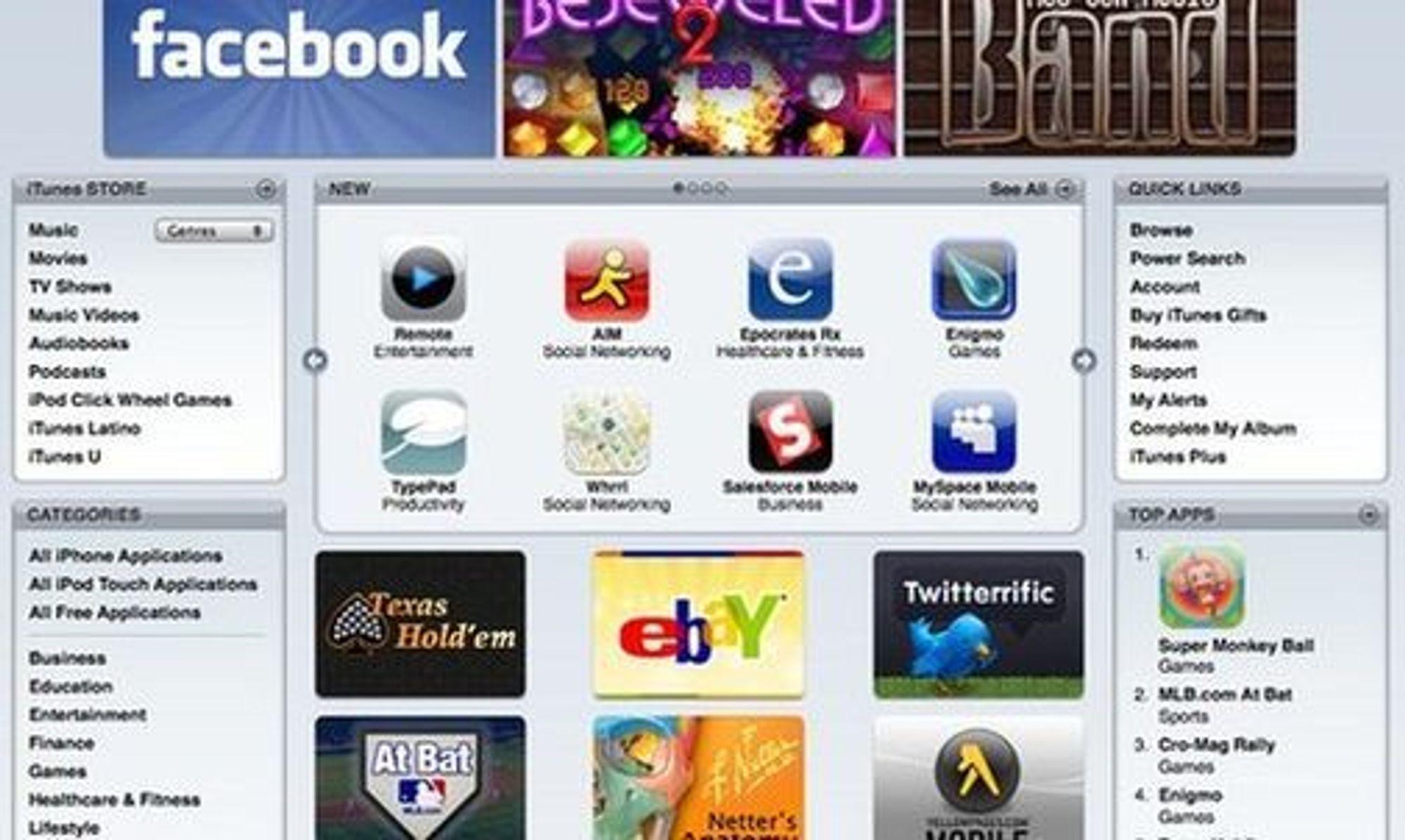 App Store selger programvare i samme grensesnitt som iTunes.