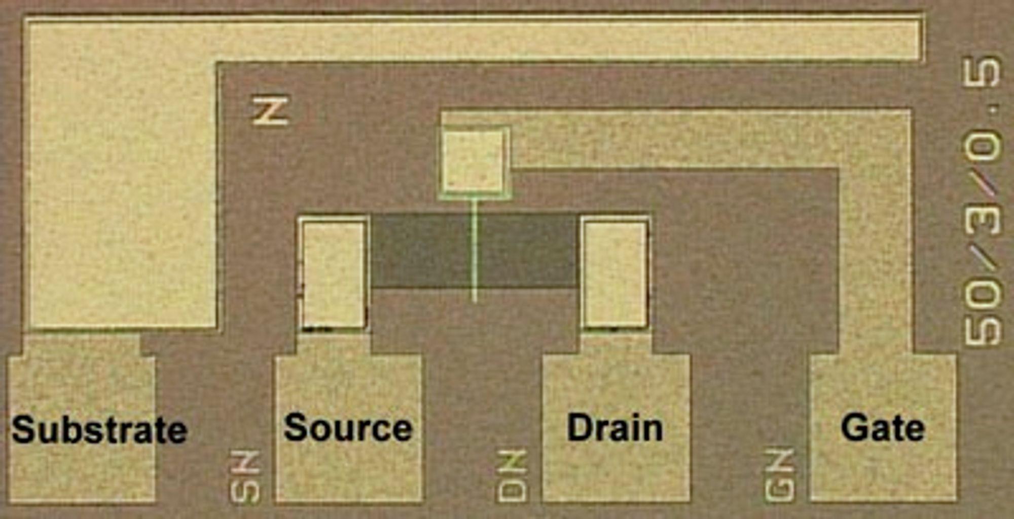 Optisk mikroskopisk bilde av FeFET for Fe-NAND flashminne. Portlengden og bredden er henholdsvis 3 og 50 µm.