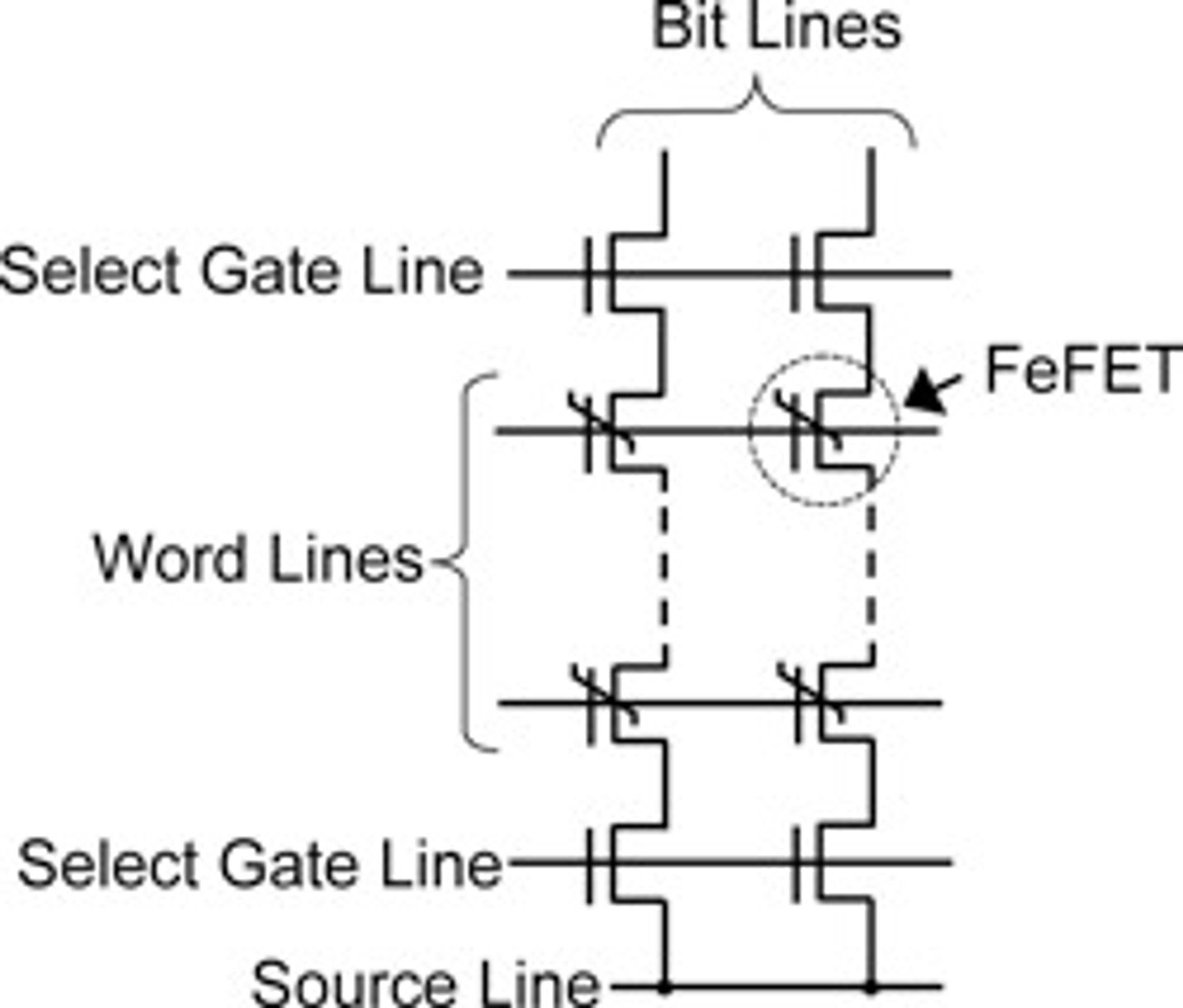 Antatt minnecelle-matrise av Fe-NAND flashminne.