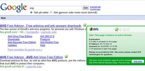 AVG Linkscanner på Google