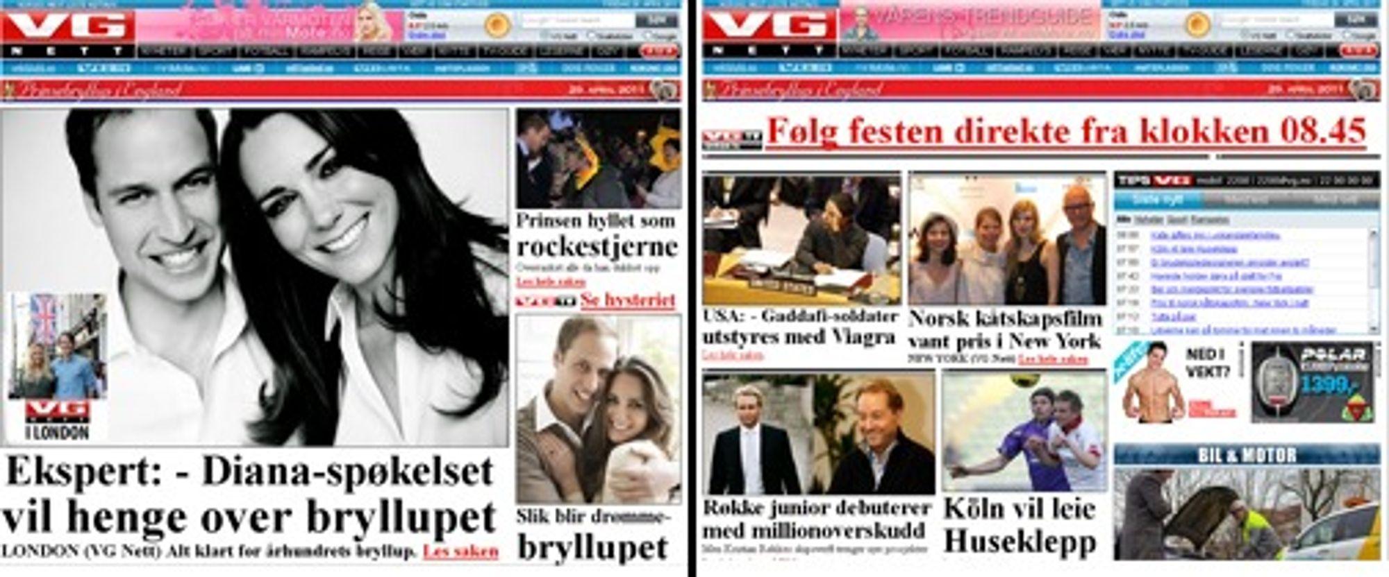 VGs forside med og uten prinsefilter.
