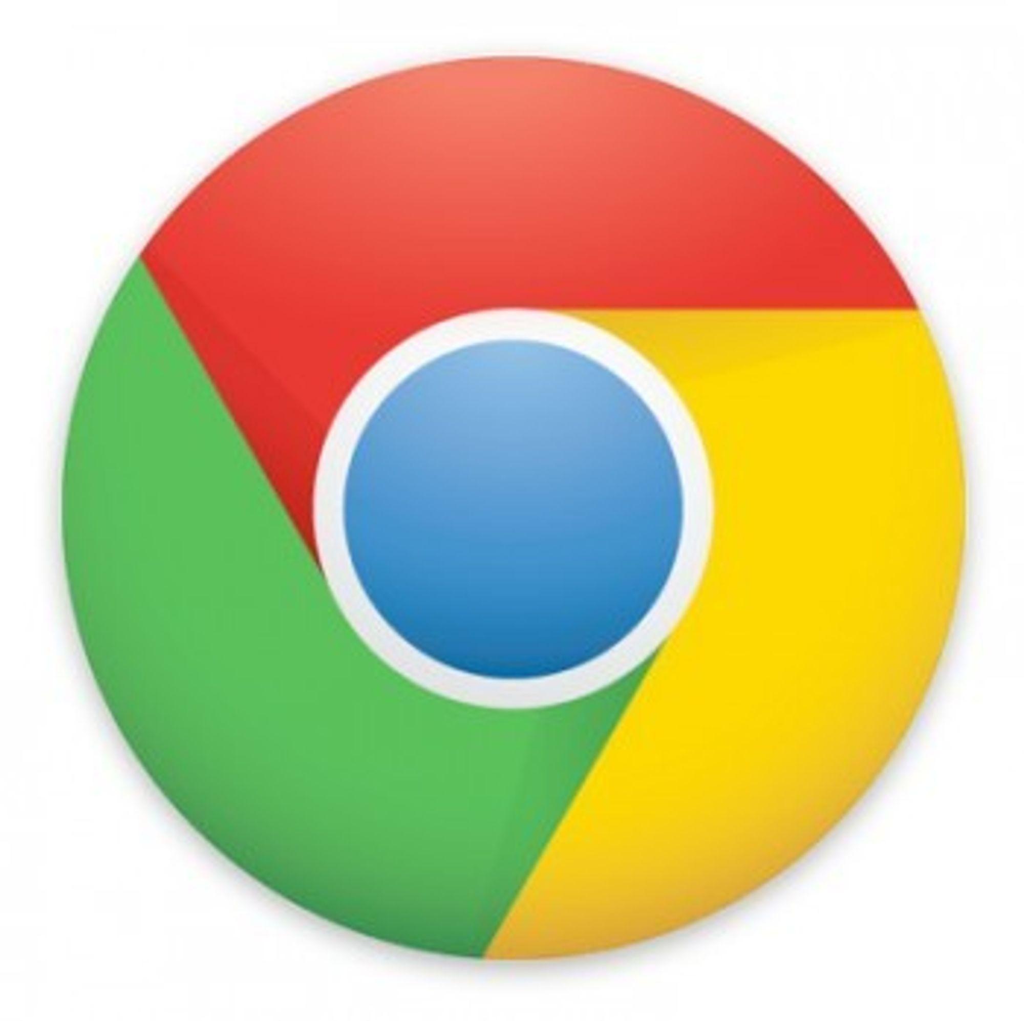 Den nye og enklere Chrome-logoen.