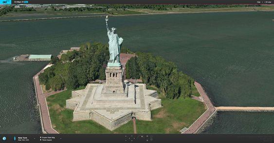 Også trærne rundt Frihetsgudinnen i New York er i 3D i Nokias Ovi Maps 3D.