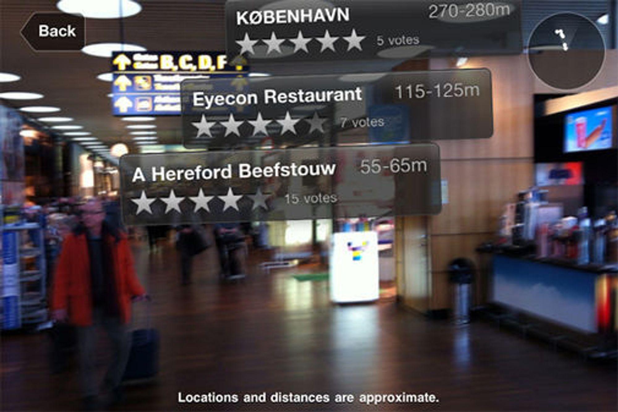 Utvidet virkelighet i iPhone-applikasjonen til Københavns Lufthavn.