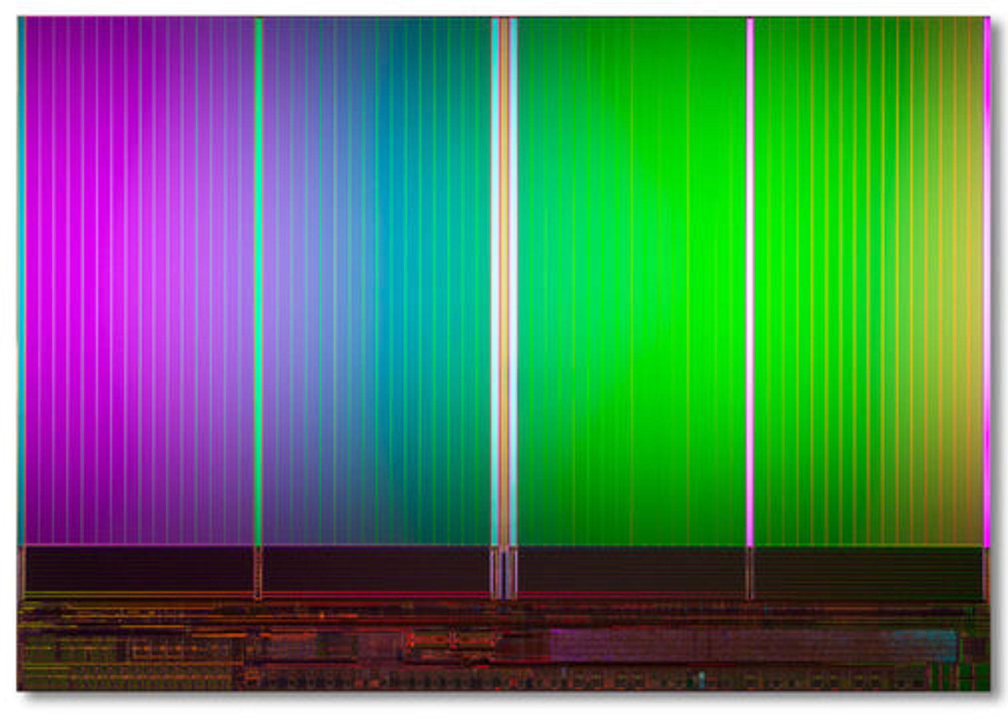 Innmaten av en 20 nanometers flashminnebrikke fra Intel og Micron med 8 gigabyte lagringskapasitet.