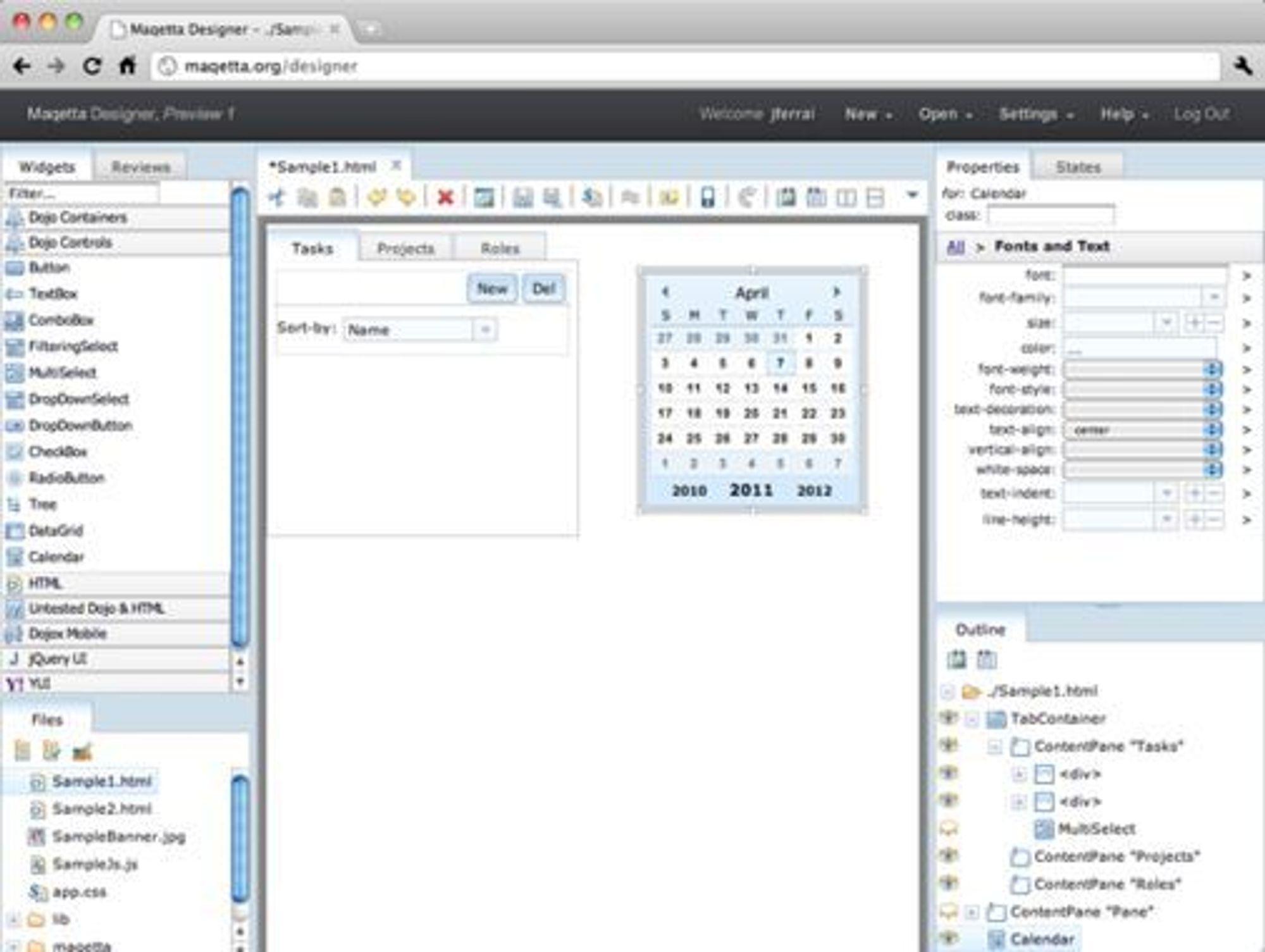 Webdesign-verktøyet Maqetta.