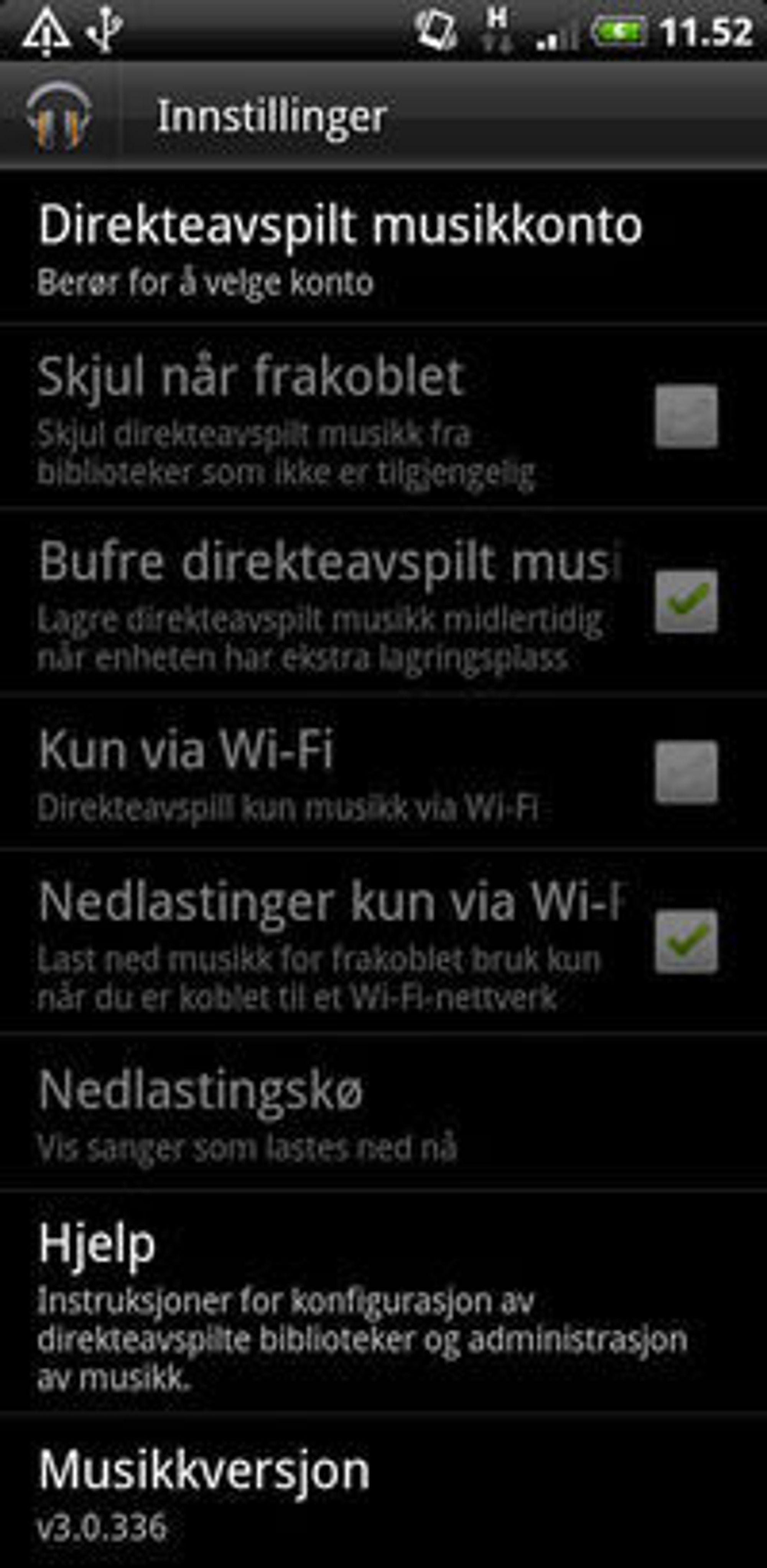 Innstillingene i testversjonen av Google Music 3 for Android.