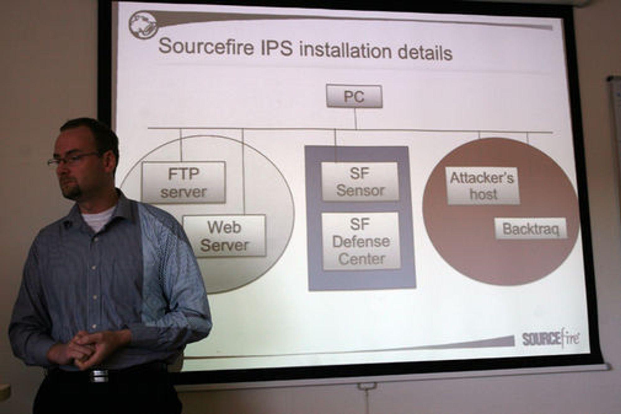 IPS-en som oppdager og eventuelt håndterer innbruddsforsøk plasseres mellom angriperen og din server i nettverket.