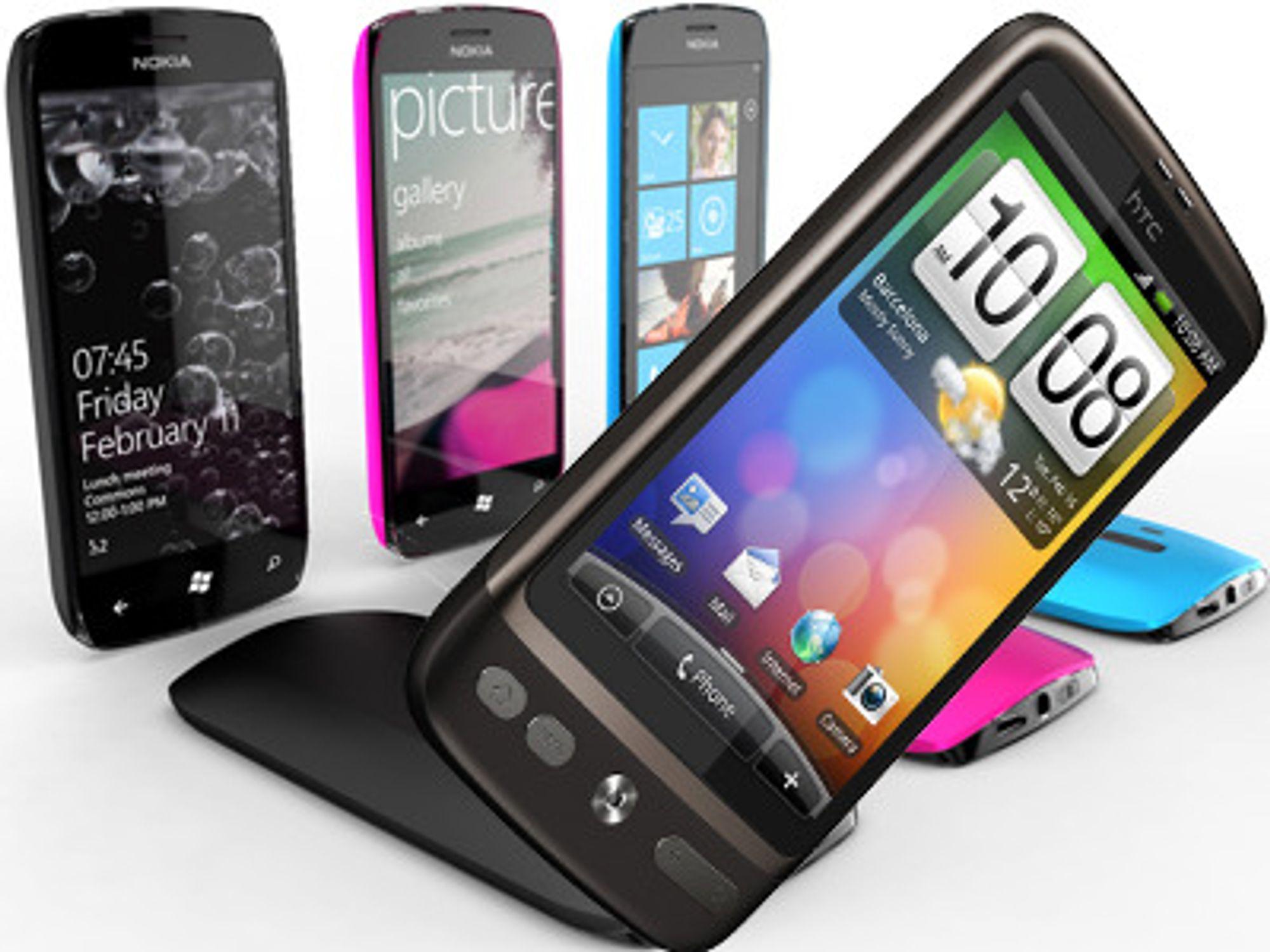 Vil Nokias nye konseptmodeller (bakgrunn) kunne konkurrere mot HTCs Android-baserte Desire?