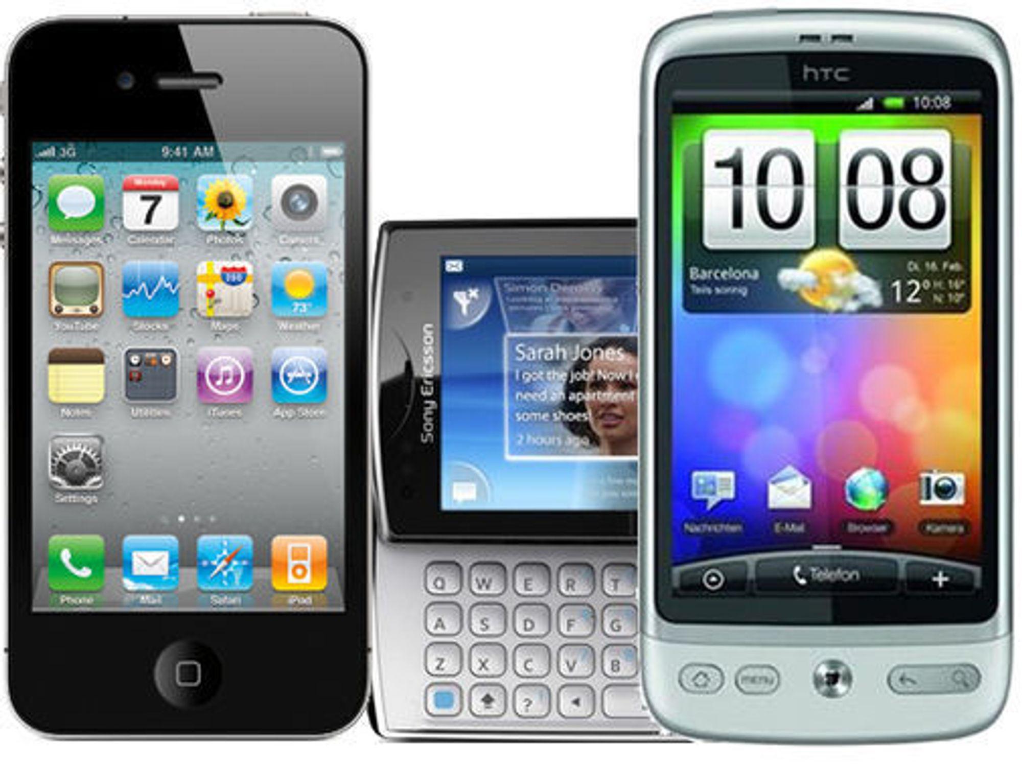 Tre av de mest populære smartmobilene i NetComs salgskanal i mars 2011: Apple iPhone 4, SonyEricsson Xperia X10 mini pro og HTC Desire.