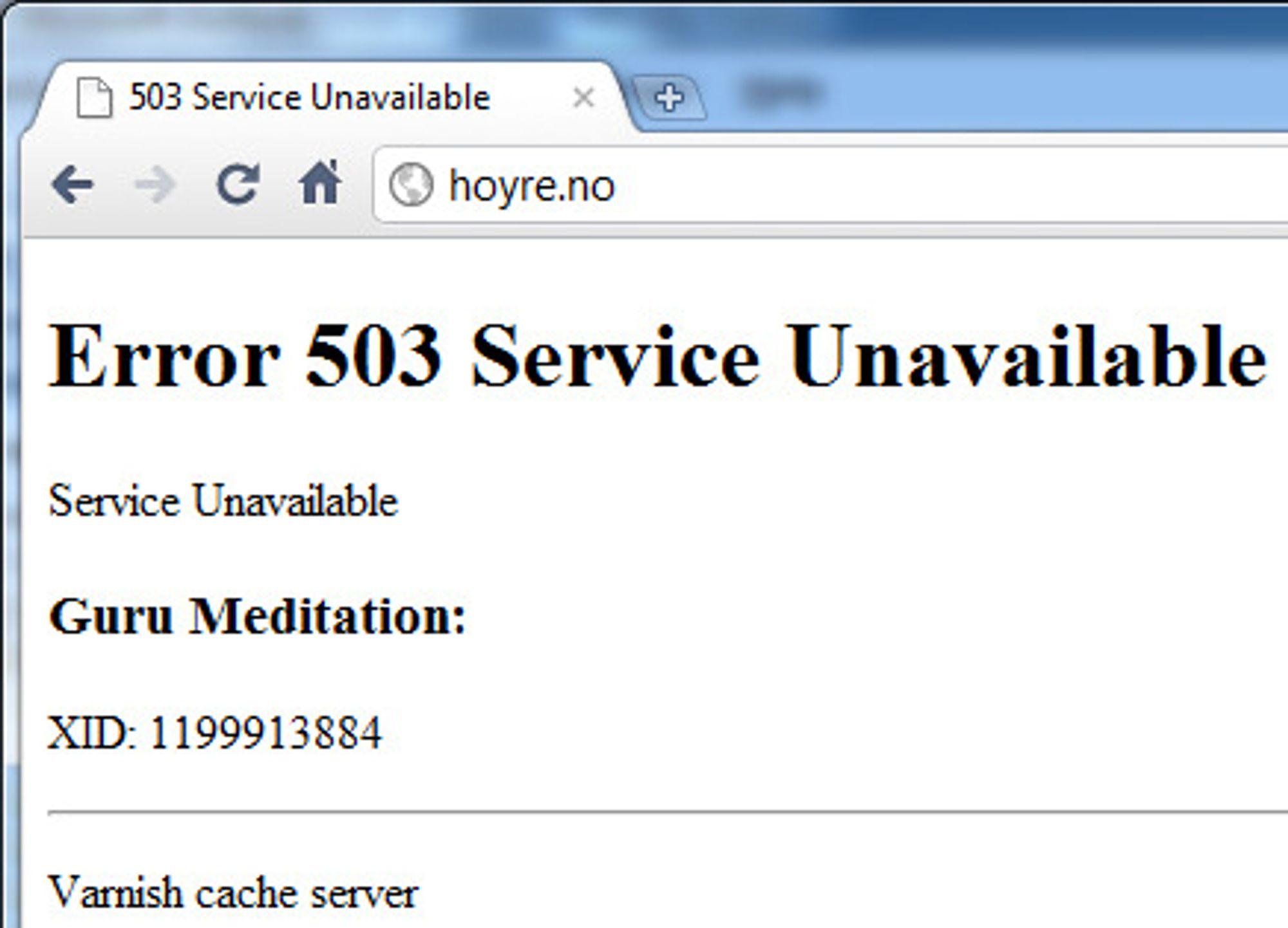 Som vi ser av feilmeldingen takler ikke Høyres nettsider belastningen, på tross av at de benytter cacheløsningen Varnish.