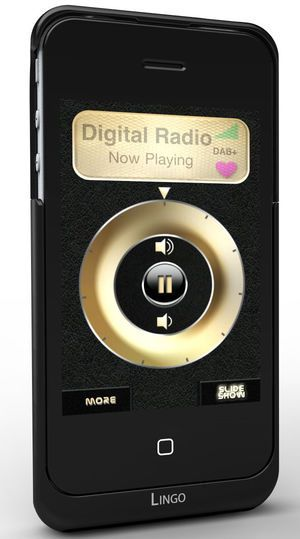 iPhone med Lingo iRis under avspilling av DAB-radio.