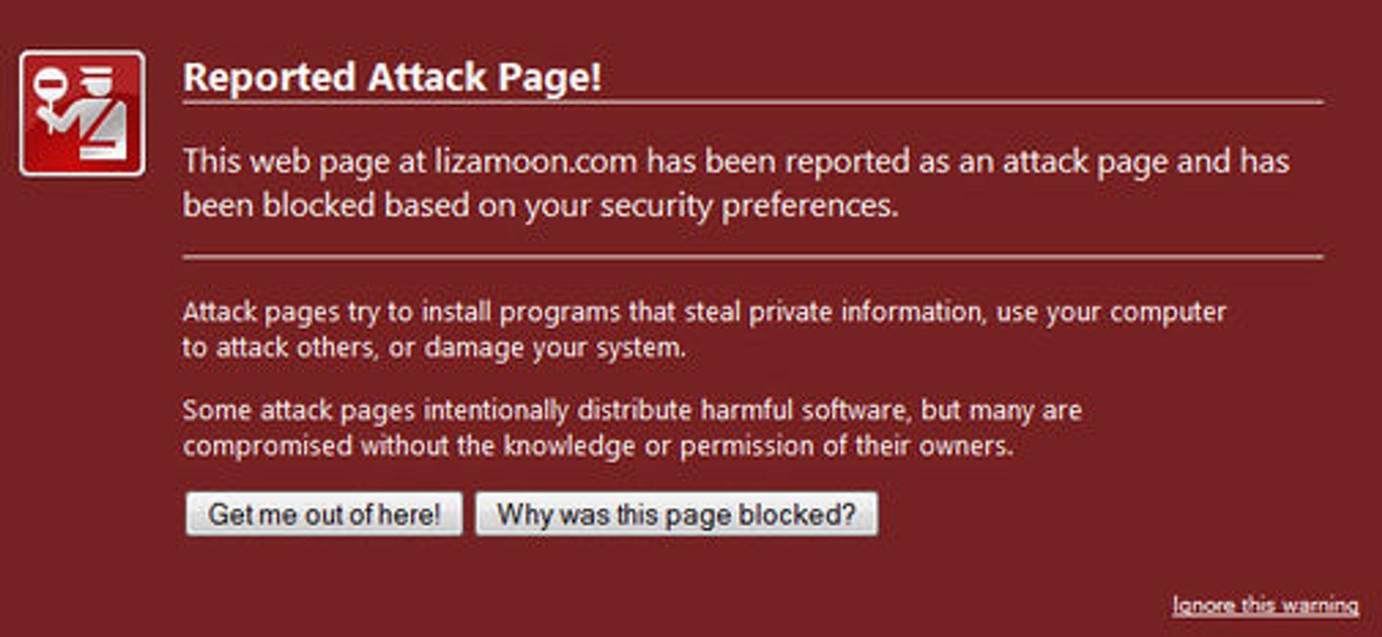 Varsel om kjente angrepssider i Firefox 4.