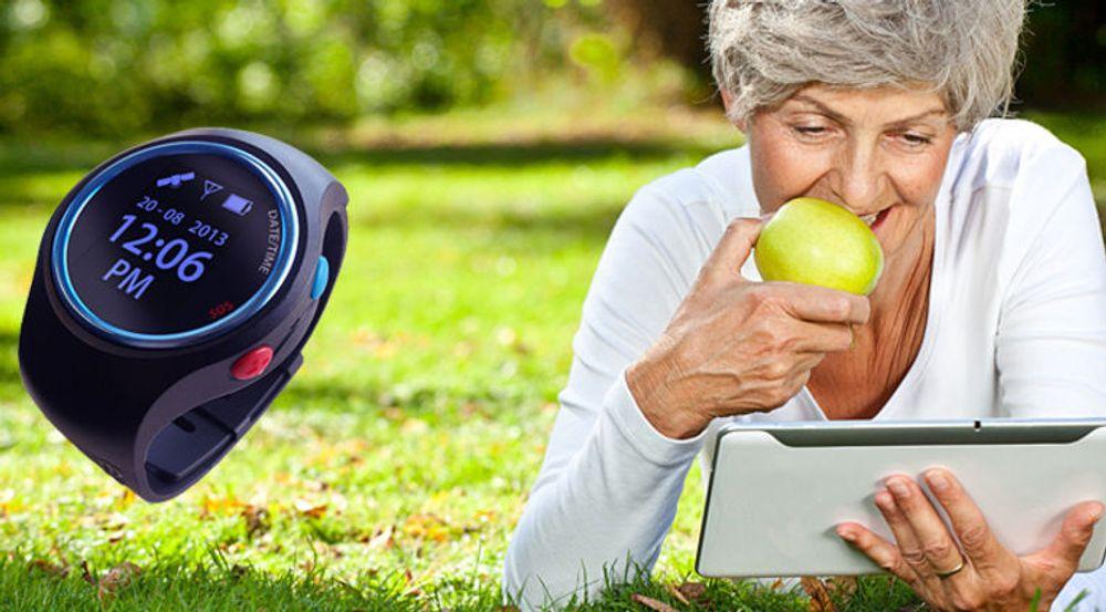 Uret fungerer som armbåndsur for den demente. Bevegelsene til den demente kan spores gjennom en app for iOS.