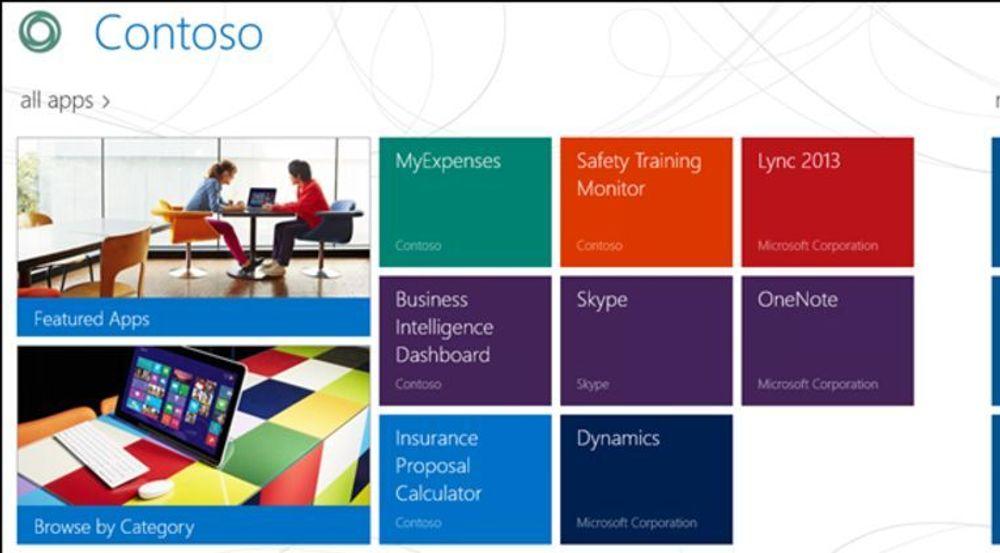 Eksempel på bedriftsportal for selvbetjening av brukere, lagt opp med Windows Server 2012 R2.