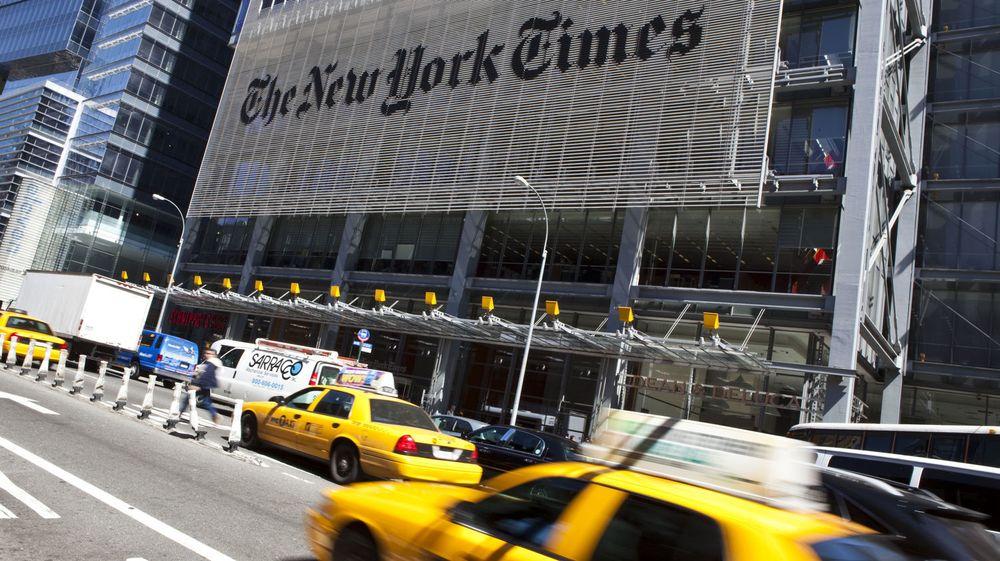 RAMMET IGJEN: New York Times er nok engang utsatt for hackerangrep. Her fra storavisens hovedkvarter på Manhattan.