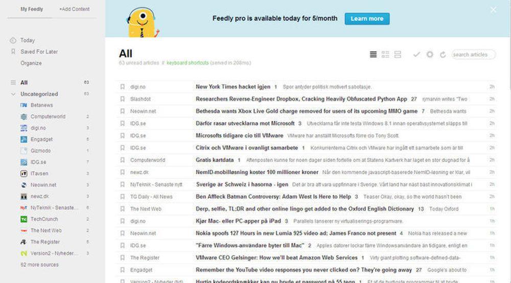 Tjenester som Feedly kan gi brukerne rask oversikt over nyheter fra mange ulike tjenester på en gang.
