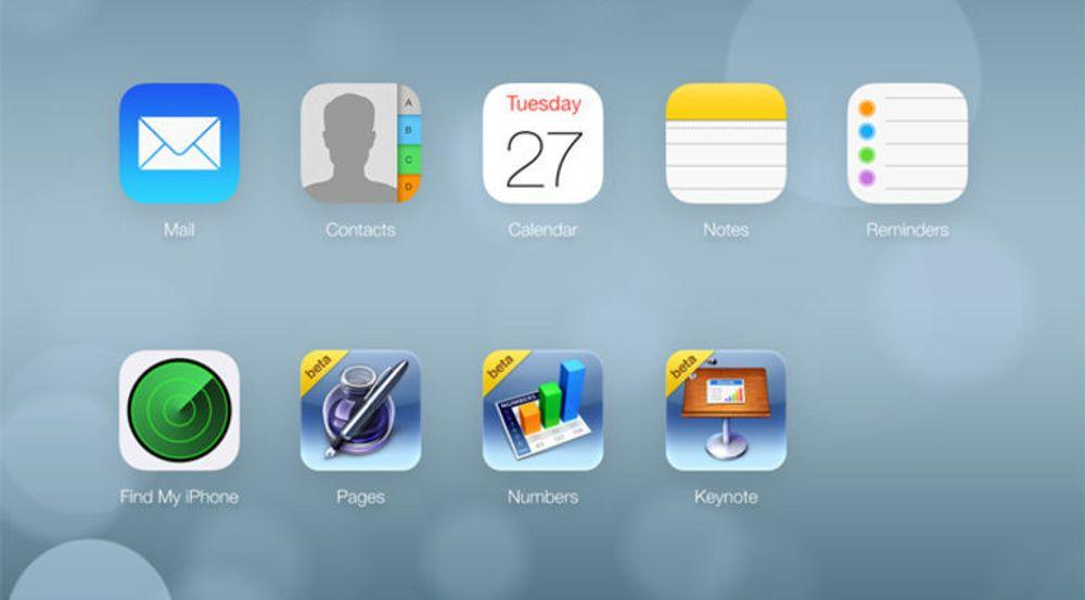 iWork for iCloud er her representert ved ikonene som er merket beta. Dette er trolig et svært tidsbegrenset tilbud i forkant av offisiell lansering av nye iCloud, iOS7 og OS X Mavericks.