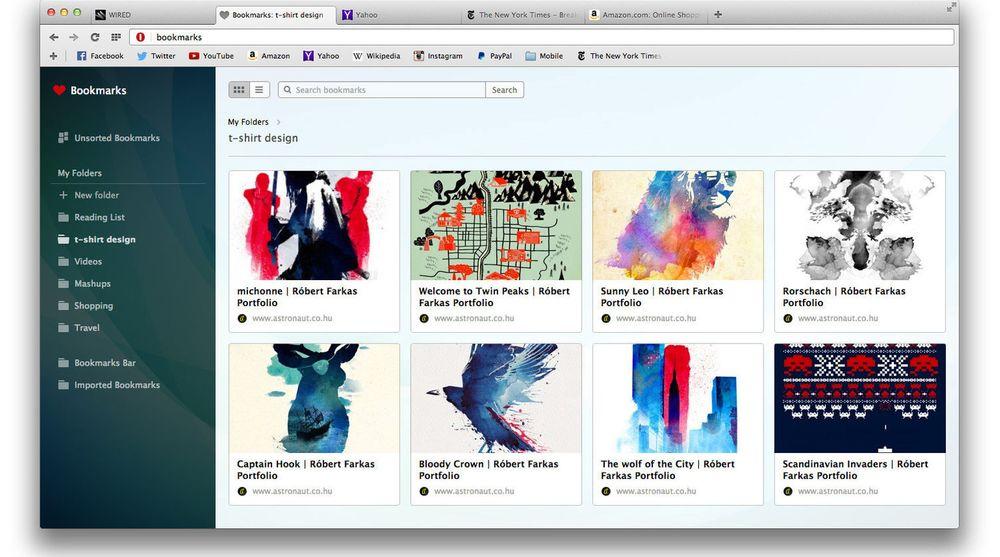 Den nye, visuelle bokmerkefunksjonen i Opera 25, her i Mac-utgaven.
