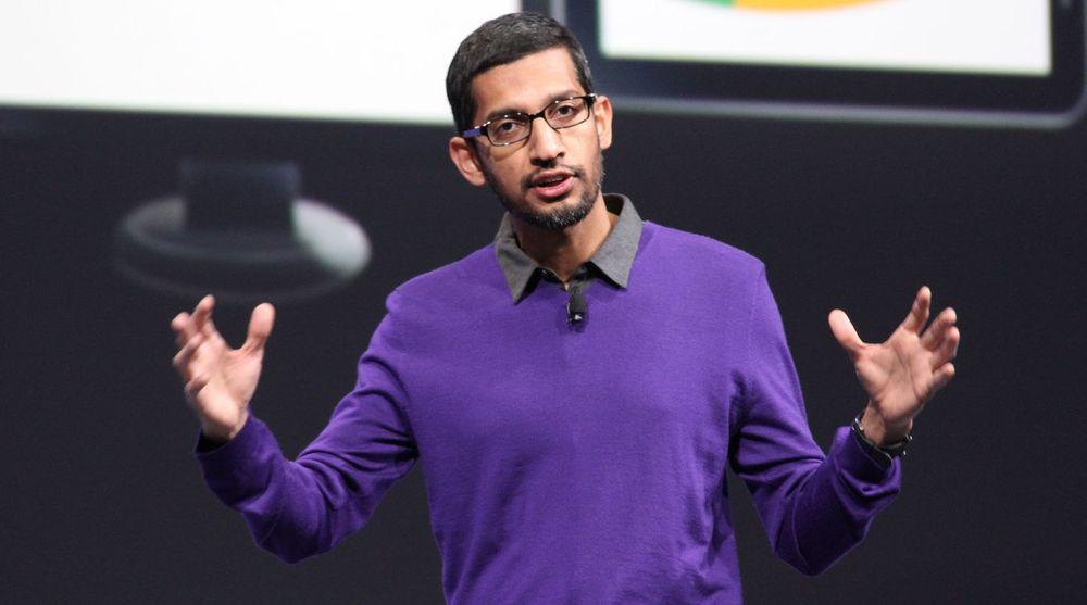 Sundar Pichai leder Android-virksomheten i Google. Han sier han ser fram til EU-kommisjonens granskning av konkurransesitusjonen knyttet til operativsystemet. Her er Pichai avbildet under Google utviklerkonferanse i 2013.