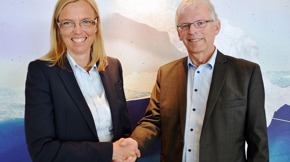 Telenors leder bedriftsmarked Marina Lønning og Agrikjøp-direktør Gunnar Vandvik.