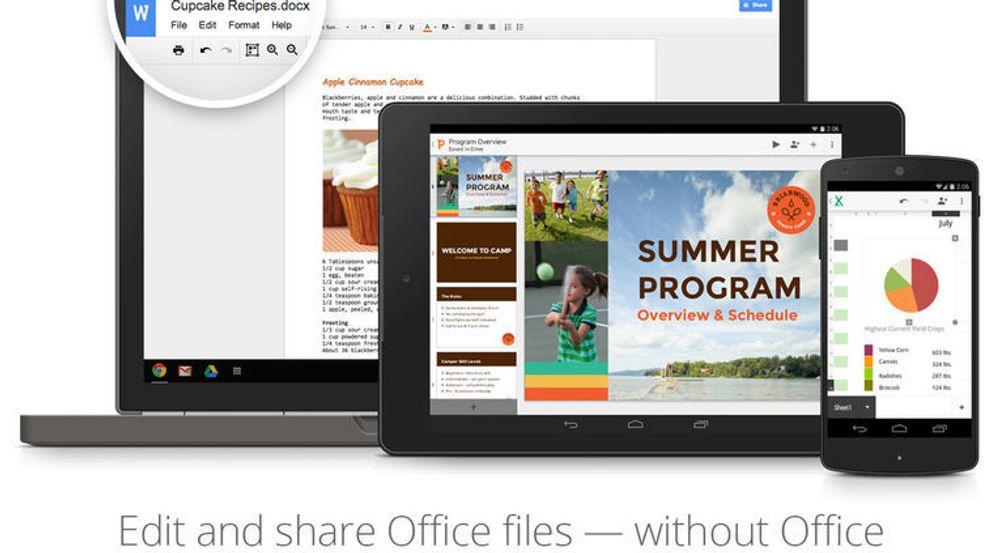 Dokumenter i Microsoft Office-format kan nå redigeres med både Chrome, Chrome OS og Google Docs-apper til Android. Appenen til iOS får tilsvarende funksjonalitet om noen uker.