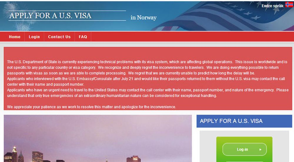 Det amerikanske utenriksdepartementet advarer om lengre ventetid på visumutstedelser enn normalt på grunn av databaseproblemer.